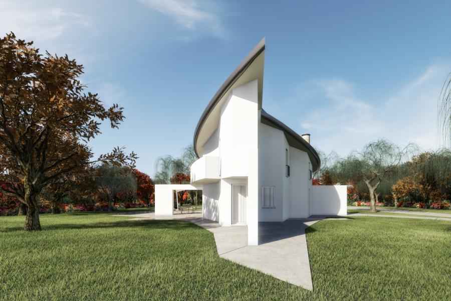 rendering architettonico in resa fotorealistica